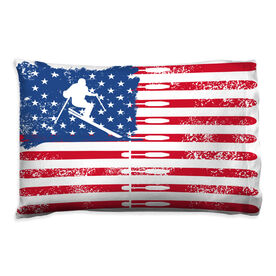 Skiing Pillowcase - American Flag