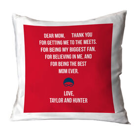 Swimming Throw Pillow - Dear Mom Heart