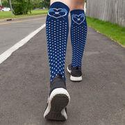 Girls Lacrosse Printed Knee-High Socks - Heart with Crossed Sticks