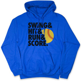 Softball Standard Sweatshirt - Swing Hit Run Score Softball Black Yellow Red