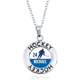 Hockey Circle Necklace - Player Silhouette With Name And Number