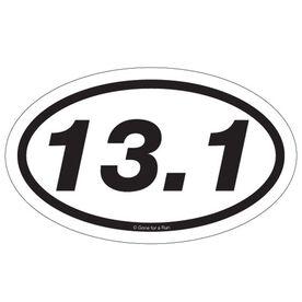 13.1 Half Marathon Car Magnet - White