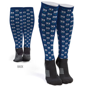 Softball Printed Knee-High Socks - Softball Team Number