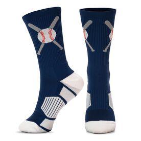 Baseball Woven Mid-Calf Socks - Crossed Bats Blue