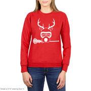 Girls Lacrosse Crew Neck Sweatshirt - Lax Girl Reindeer