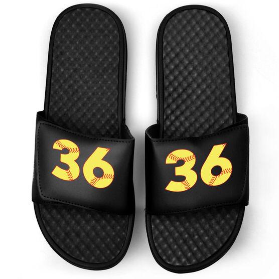 Softball Black Slide Sandals - Softball Number Stitches