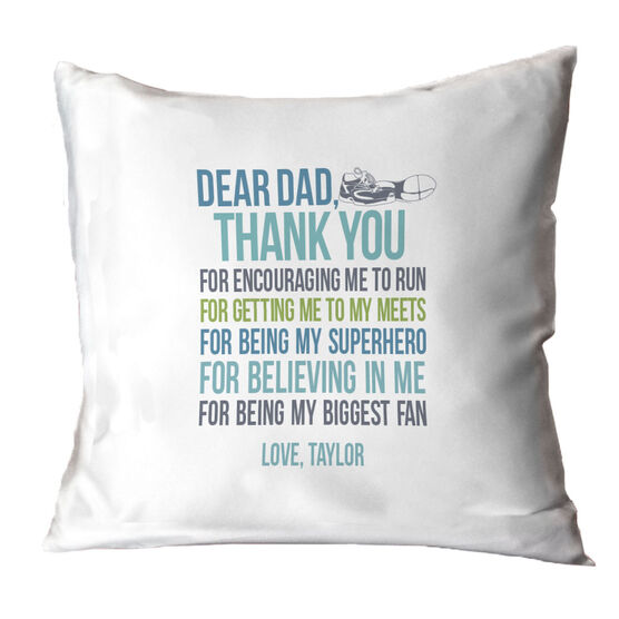 Track and Field Throw Pillow Dear Dad