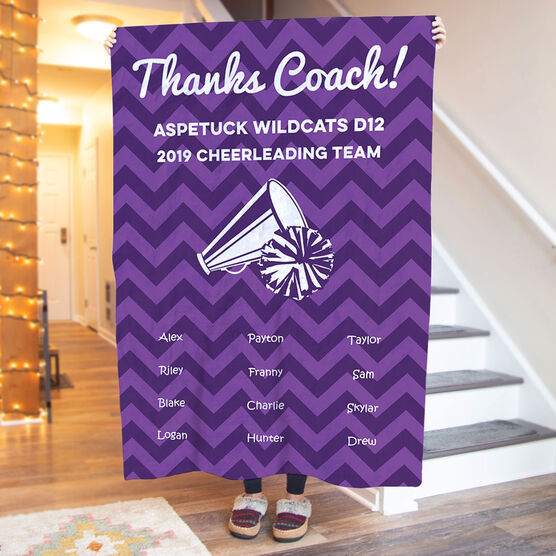 Cheerleading Premium Blanket - Personalized Thanks Coach Chevron