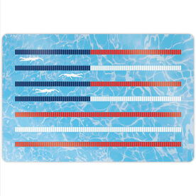 "Swimming 18"" X 12"" Aluminum Room Sign - American Flag"