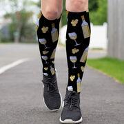 Running Printed Knee-High Socks - Wine Pattern