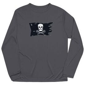 Guys Lacrosse Long Sleeve Performance Tee - Lax Pirate Flag