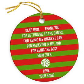 Volleyball Porcelain Ornament - Dear Mom Heart