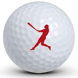 Baseball Red Silhouette Golf Balls