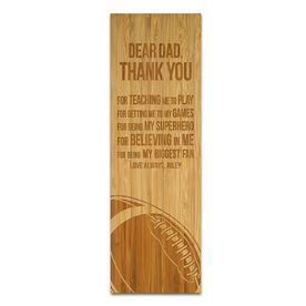 "Football 12.5"" X 4"" Engraved Bamboo Removable Wall Tile - Dear Dad"