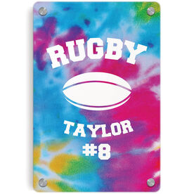 Rugby Metal Wall Art Panel - Personalized Tie-Dye Pattern with Rugby Ball