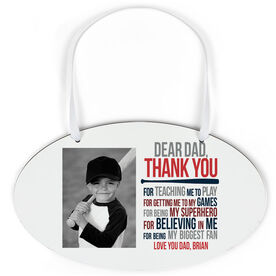 Baseball Oval Sign - Dear Dad With Photo