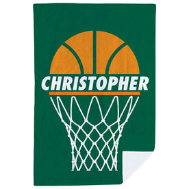Basketball Premium Blanket - Personalized Ball In Net