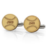 Baseball Engraved Wood Cufflinks Your Initials with Stitches