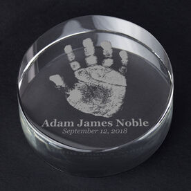 Personalized Engraved Crystal Gift - Baby Handprint