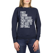 Softball Crew Neck Sweatshirt - Then I Drive The Kids To Softball