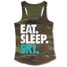 Skiing Camouflage Racerback Tank Top - Eat. Sleep. Ski.