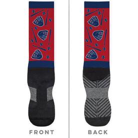 Baseball Printed Mid-Calf Socks - Sketch