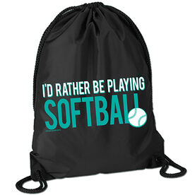 I'd Rather Be Playing Softball Sport Pack Cinch Sack