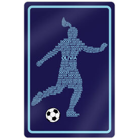 "Soccer Aluminum Room Sign Personalized Soccer Words Female (18"" X 12"")"