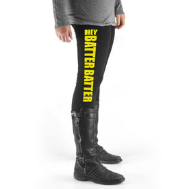 Softball High Print Leggings Hey Batter Batter