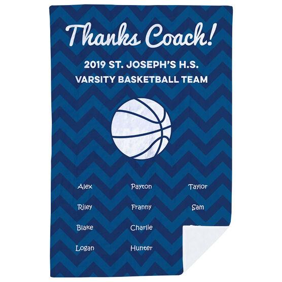 Basketball Premium Blanket - Personalized Thanks Coach Chevron