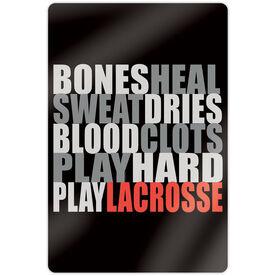 "Guys Lacrosse 18"" X 12"" Aluminum Room Sign - Bones Saying"
