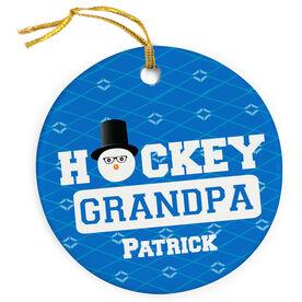 Hockey Porcelain Ornament Personalized Grandpa