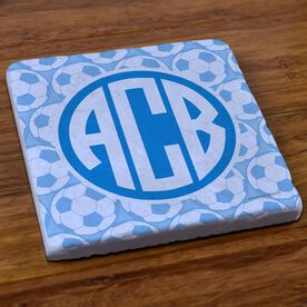 Soccer Stone Coaster Monogram with Soccer Ball Pattern