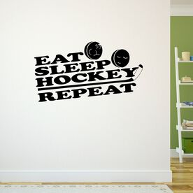 Eat Sleep Hockey Repeat Removable ChalkTalkGraphix Wall Decal