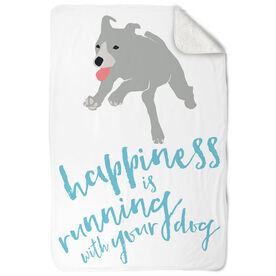 Running Sherpa Fleece Blanket - Happiness Is Running With Your Dog