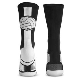 Volleyball Woven Mid-Calf Socks - Superelite (Black/White)