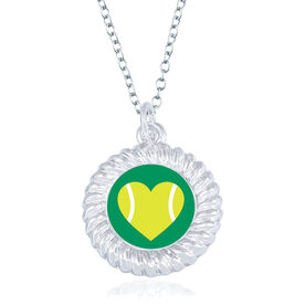 Tennis Braided Circle Necklace - Ball Heart