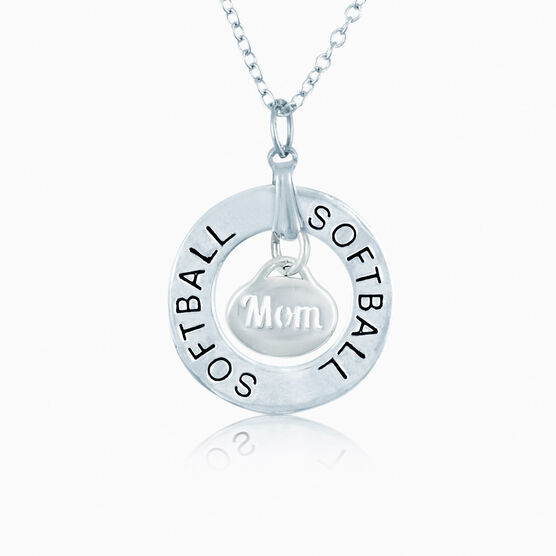 Softball Mom Message Ring Necklace
