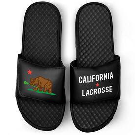 Guys Lacrosse Black Slide Sandals - California Flag