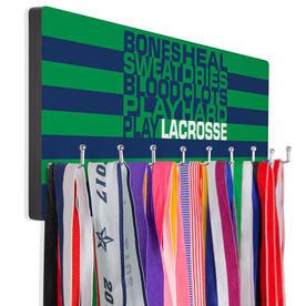 Guys Lacrosse Hooked on Medals Hanger - Bones Saying