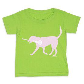 Girls Lacrosse Toddler Short Sleeve Tee - Lula the Lax Dog (Pink)