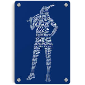 Softball Metal Wall Art Panel - Personalized Words Batter