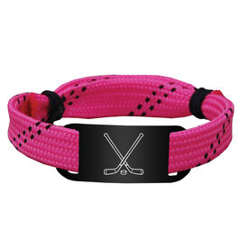 Hockey Lace Bracelet Crossed Sticks Adjustable Wrister Bracelet