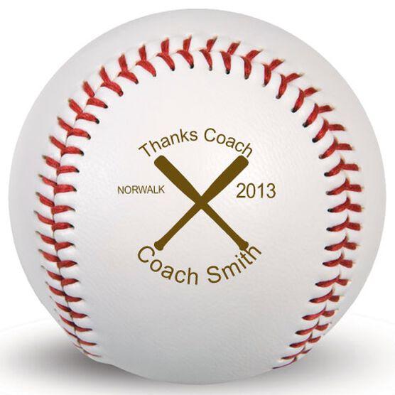 Baseball Thanks Coach Crossed Bats Laser Engraved Baseball