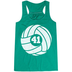 Volleyball Flowy Racerback Tank Top - Personalized Volleyball Ball with Number