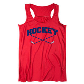 Hockey Flowy Racerback Tank Top - Hockey Crossed Sticks