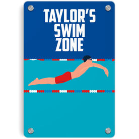 Swimming Metal Wall Art Panel - Personalized Swim Zone Guy