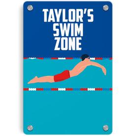 Swimming Metal Wall Art Panel - Personalized Swim Zone Guy
