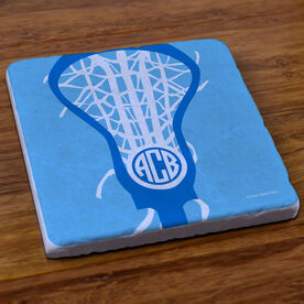 Girls Lacrosse Stone Coaster Monogrammed Lax is Life