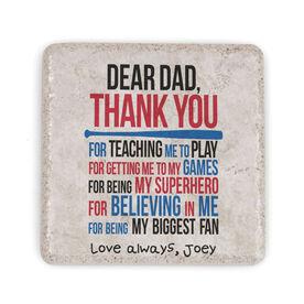Baseball Stone Coaster - Dear Dad (Autograph)